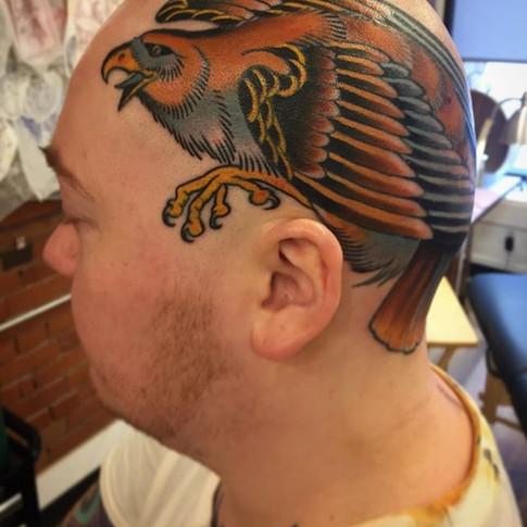 Colour Hawk Head Tattoo