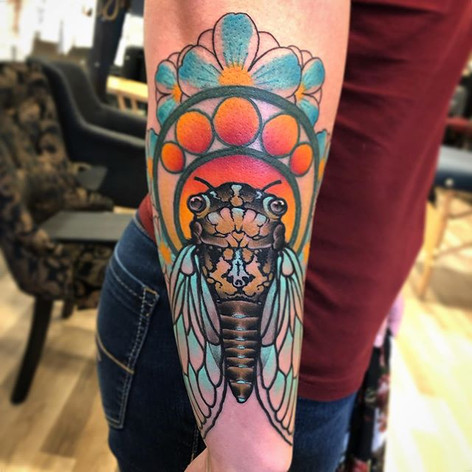 Neo Traditional Cicada Tattoo