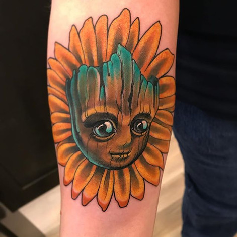 Colour Baby Groot Tattoo