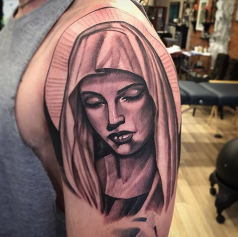 Black and Grey Mary Tattoo