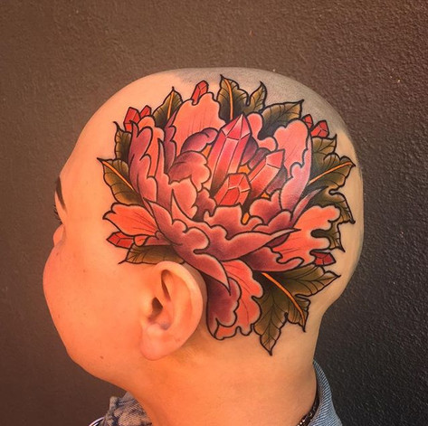 Colour Peony and Gem Head Tattoo