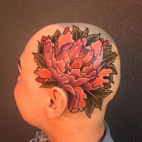 Colour Peony and Gem Head Tattoo
