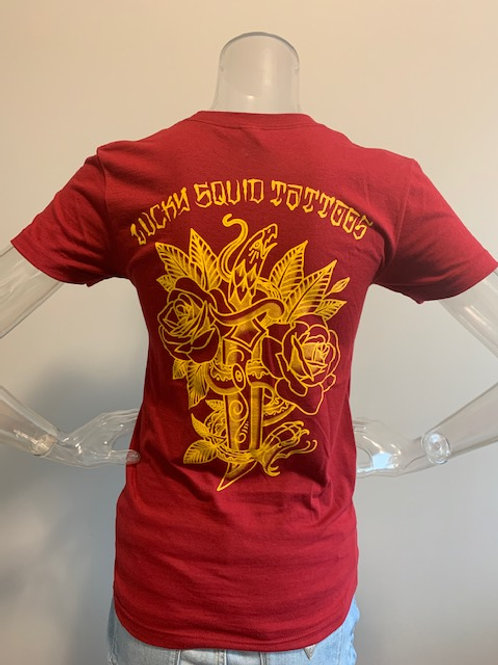 """Woman's T-Shirt Red """"Snake and Dagger"""""""