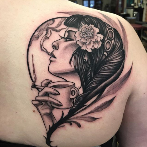 Neo Traditional Morning Coffee Girl Head Tattoo