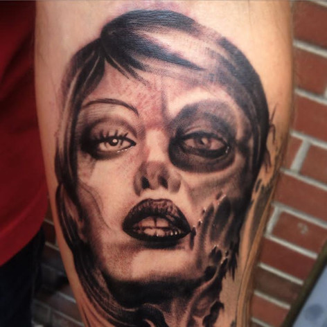 Black and Grey Sexy Zombie Tattoo