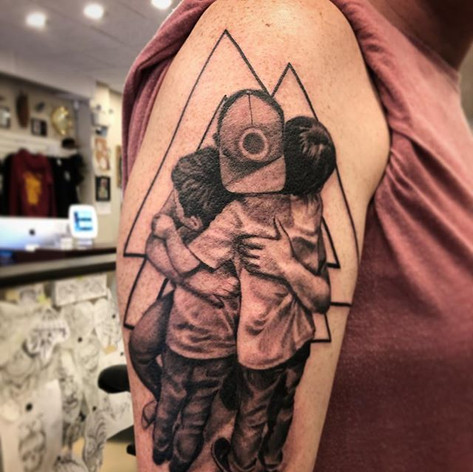 Black and Grey Father Son Tattoo