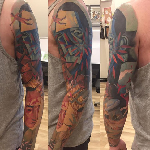 Colour Hot Water Music Sleeve Tattoo
