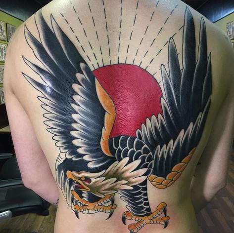 Neo Traditional Eagle Back Piece Tattoo