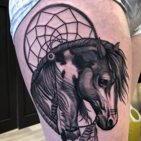 Black and Grey Horse Tattoo