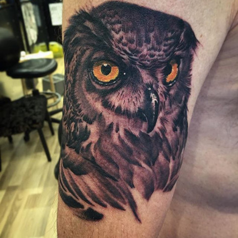 Black and Grey Owl Portrait Tattoo