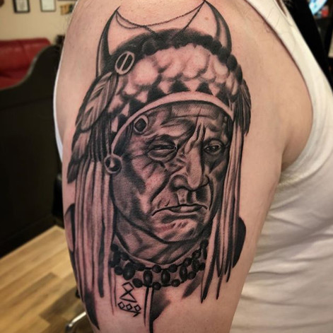 Black and Grey Medicine Hat Tattoo