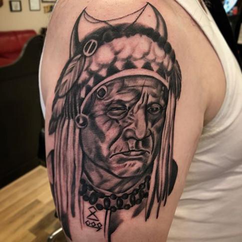 Black and Grey Medicine Hat Tattoo