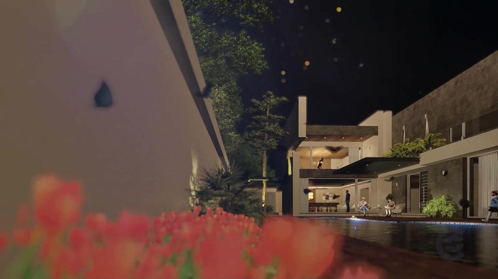 Exercício de animação externa noturna.