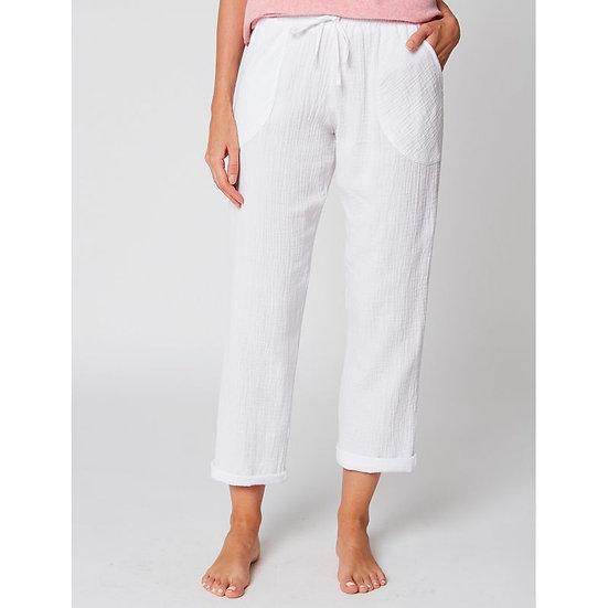 Pantalon en gaze de coton HYDRA 180 Blanc - LE CHAT