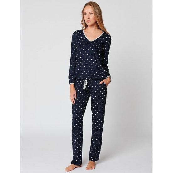 Pyjama à pois BELLAGIO 102 Marine - LE CHAT