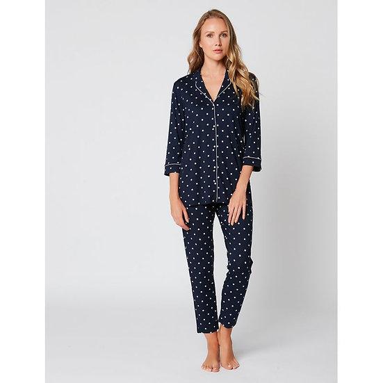 Pyjama boutonné à pois BELLAGIO 106 Marine - LE CHAT