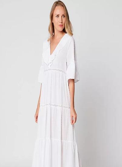 Robe longue en plumetis HYDRA 140 Blanc -LE CHAT