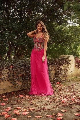 Rosa Pink com Aplicações e Bordados