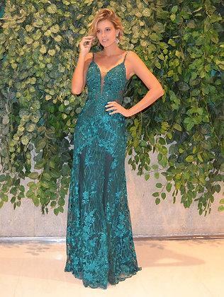 Verde Esmeralda com Aplicações e Bordados