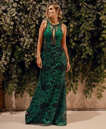 Verde Esmeralda com Bordado e Aplicações