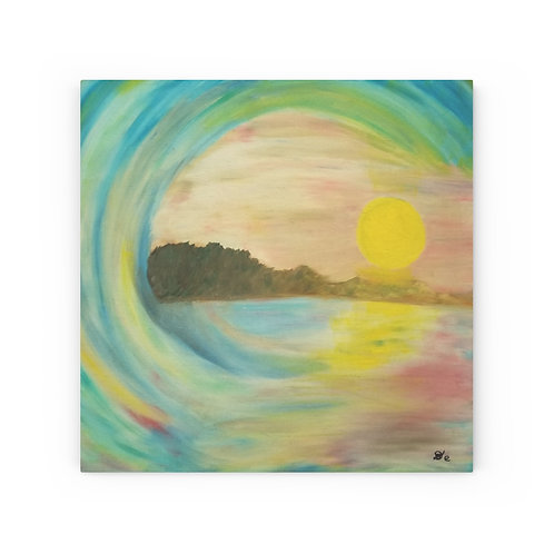 Sunset wave - Wood Canvas