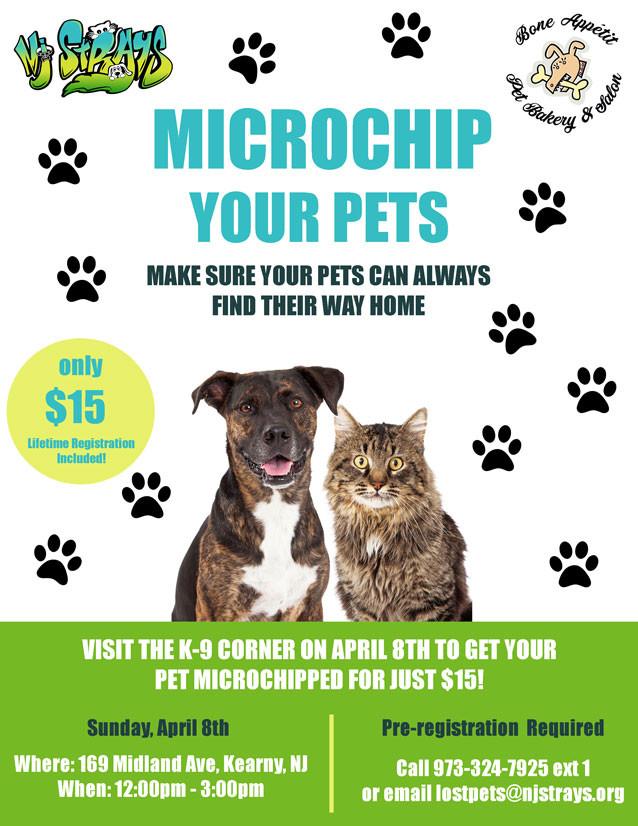 Low cost pet microchipping available in Kearny, NJ.