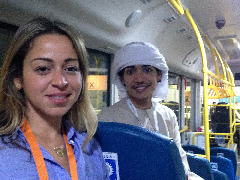 Dr. Lina Yousef and Saeed Al Khoori in the Masdar City E-BUS at ADSW 2018