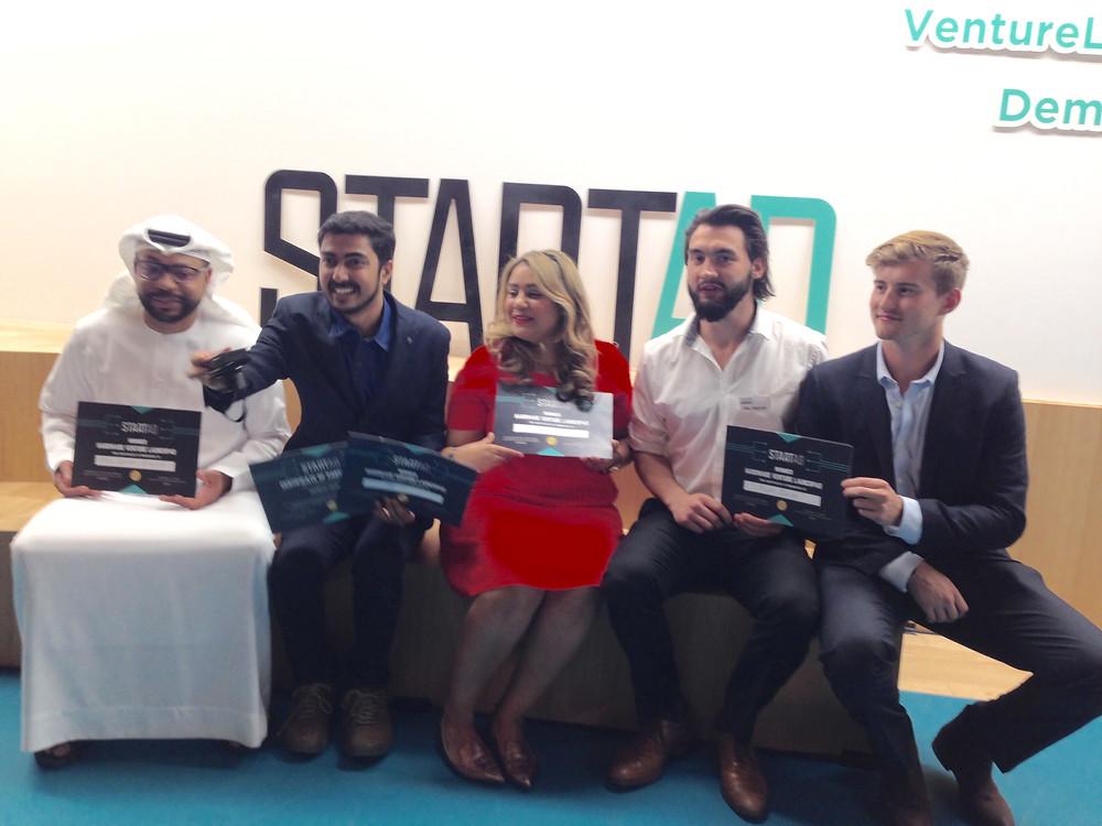 From left to right: Saeed Al Nofeli (Maia Systems), Midhun Sankar (Smado), Nadiya-K. Siddique (Stealthy), Phil Vorster & Jonathan Marshall (Project Realise)