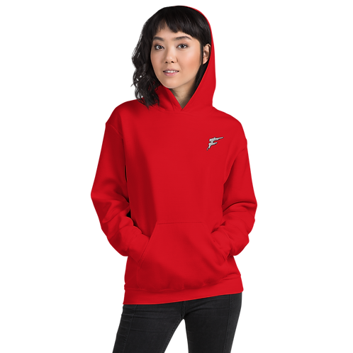 | F Collection | Flex Hoodie | Double Stitch | Unisex | Embroidered | Red/Black