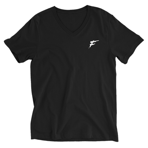 | F Collection | V-Neck Tee | 100% Cotton | Unisex | Embroidered | Black