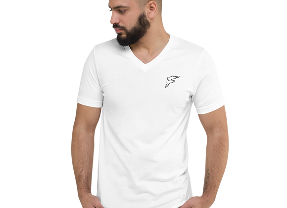| F Collection | V-Neck Tee | 100% Cotton | Unisex | Embroidered | White