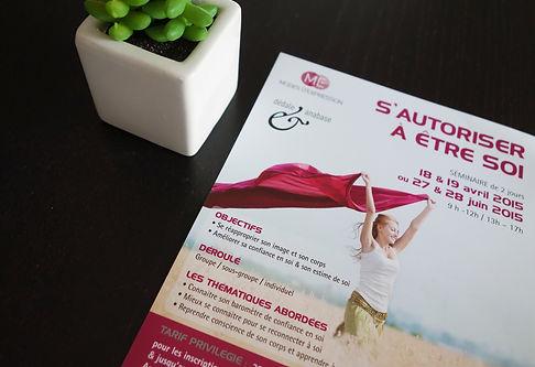 Impulsion graphique, conception graphique graphiste freelance Alsace print flyer brochure plaquette commerciale Modes d'Expression bien-être developpement personnel s'autoriser être soi