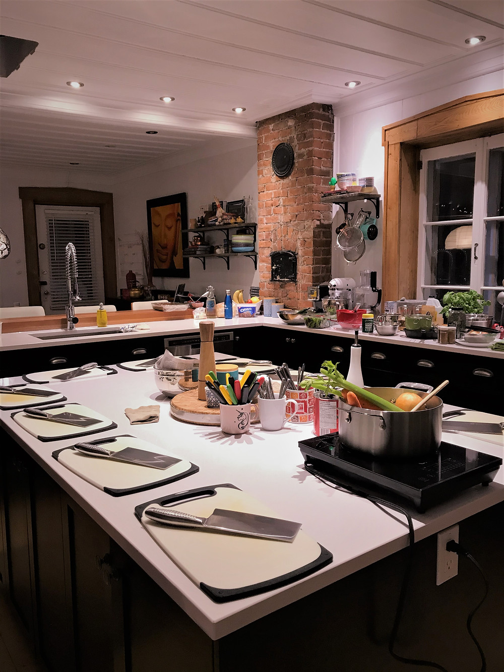 Beautiful set-up in the home of Chef Anne Rouleau