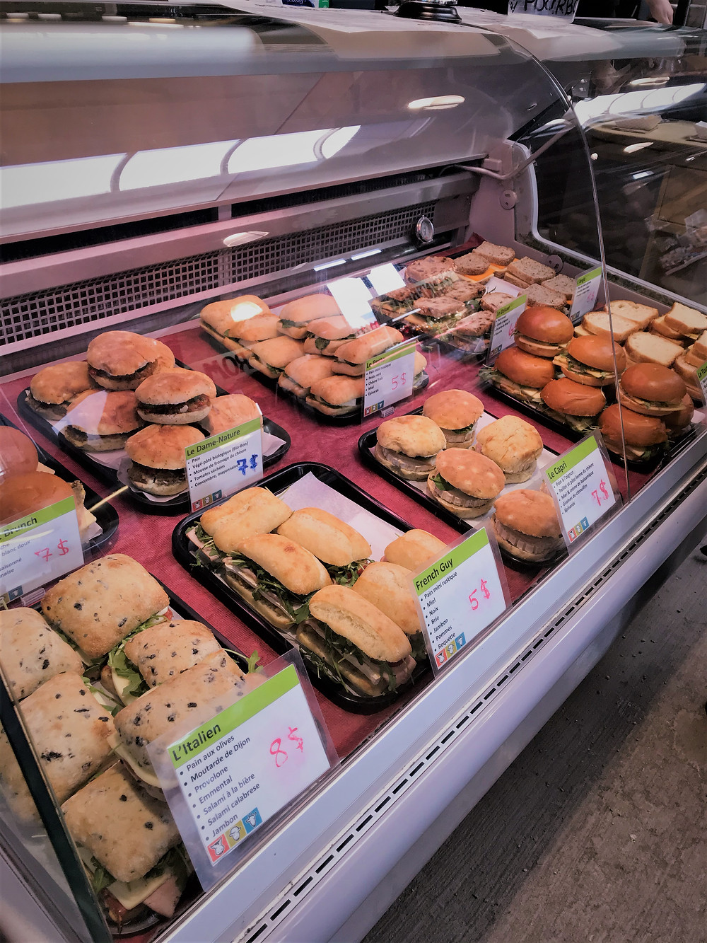 Grilled cheese options at Marche Jean Talon