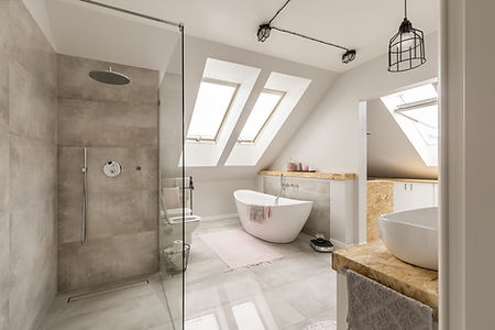 A concrete designed bathroom