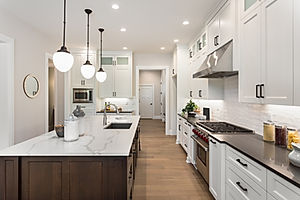A wood and white kitchen