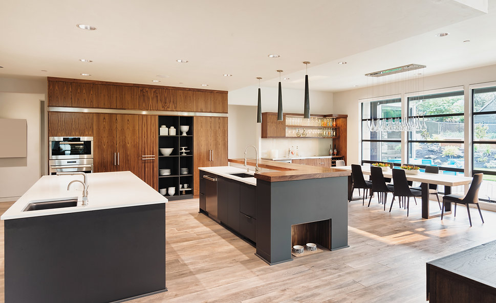 A spacious kitchen and dining table