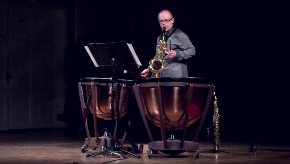 Arvydas Kazlauskas performs 'Tumulus' for Soprano and Baritone Saxophones and timpani. Riga Saxophone Days, JVLMA Great Hall, April 11 2017.