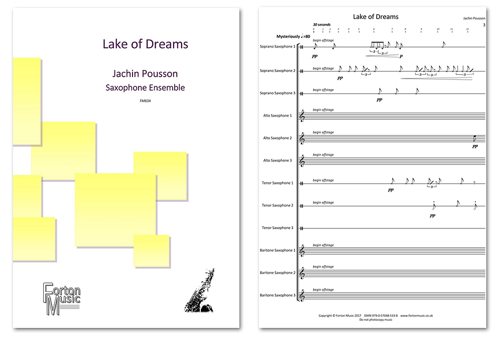 Lake of Dreams cover image by Forton Music. Score for saxophone ensemble composed by Jachin Pousson.