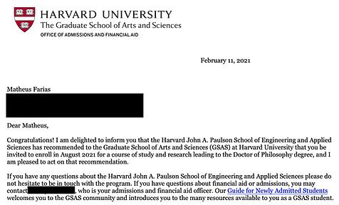 Matheus Farias: Harvard University Acceptance Letter - The Ivy Centre
