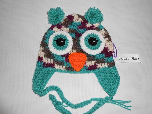 Owl Burgandy Multi Aqua Ears