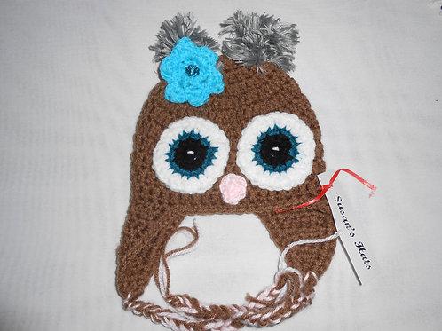 Baby Owl Aqua Flower
