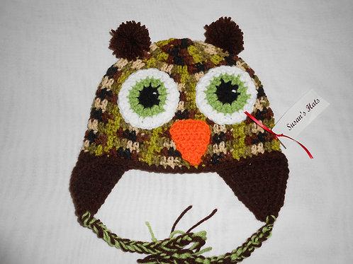 Owl Green Camo Brown Ears