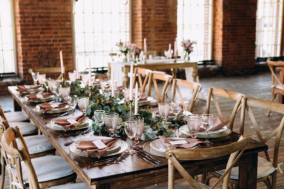 Decoración de la mesa de la boda