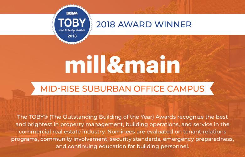Mill & Main 2018 TOBY Award Winner