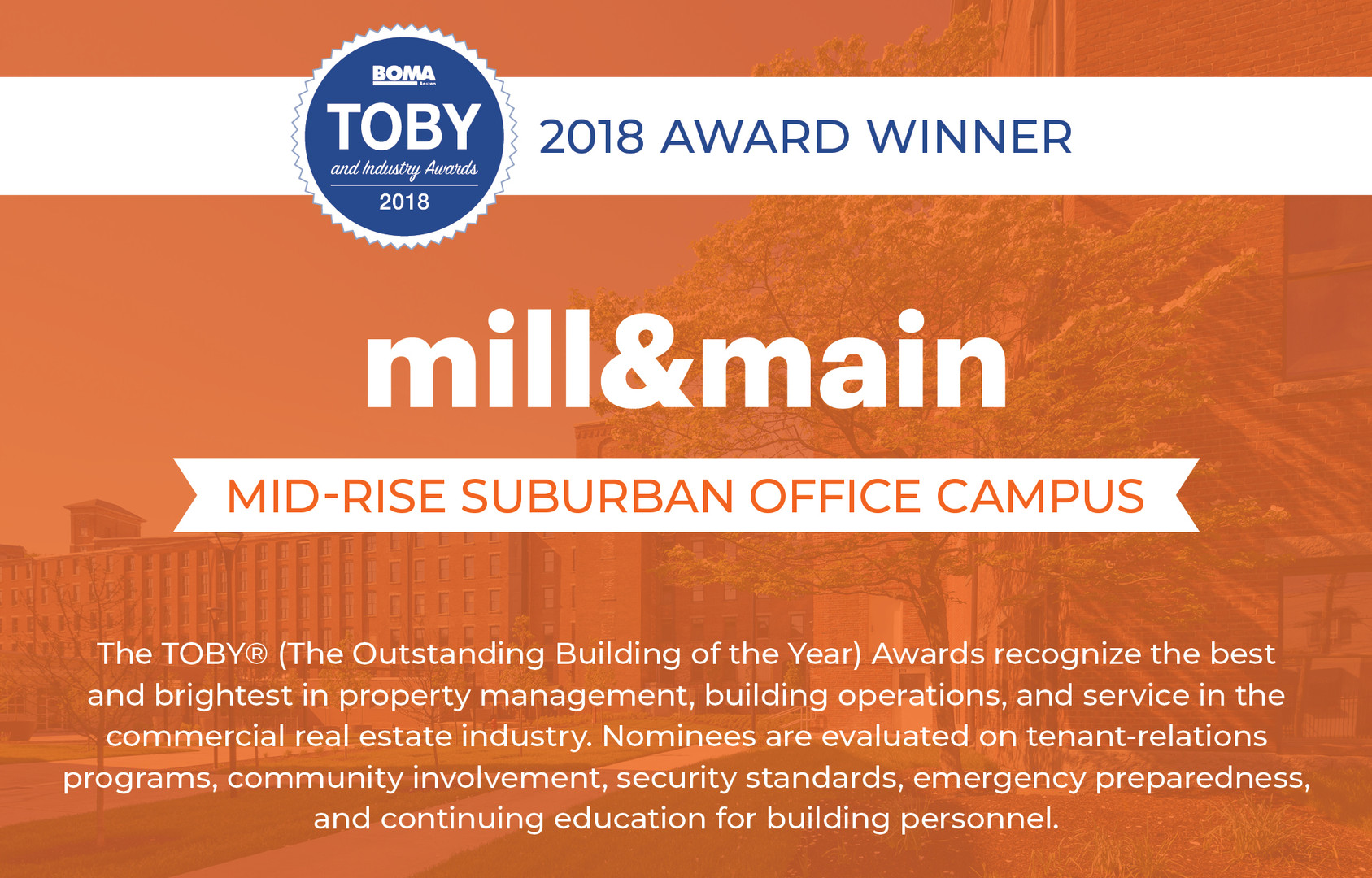 Mill & Main 2018 TOBY Award Winner