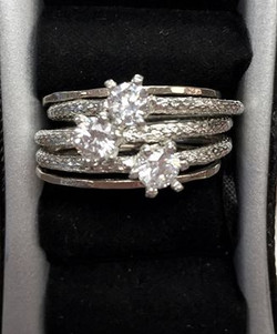 3 stone sterling ring $118.00