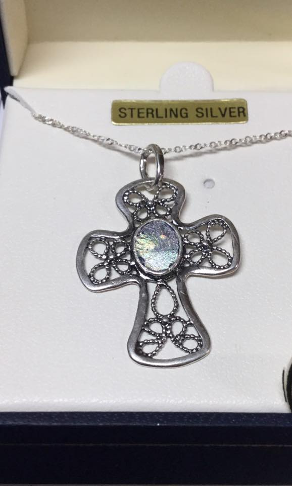 Mediterranean Glass Cross $120