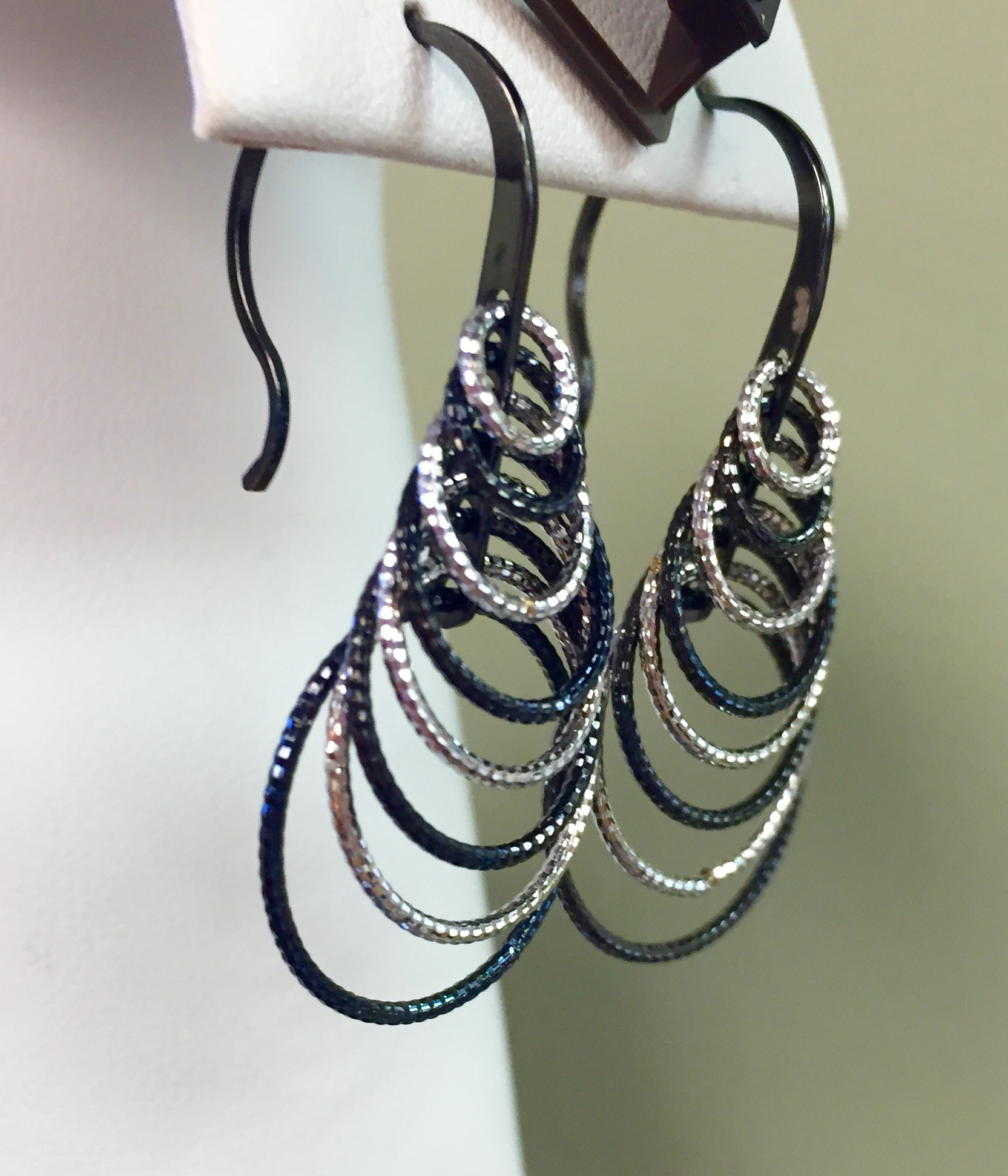 Black and White Cascading Earrings