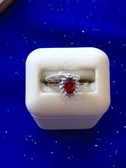 Garnet White Gold Ring